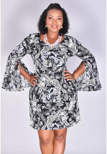 MSK ISHANN- Puff Print Bell Sleeve Dress