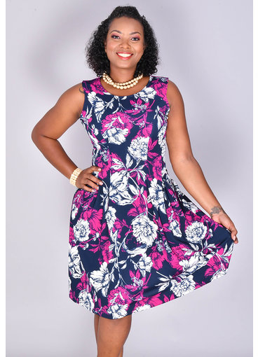 ELLIE-Sleeveless Floral Fit & Flare Dress