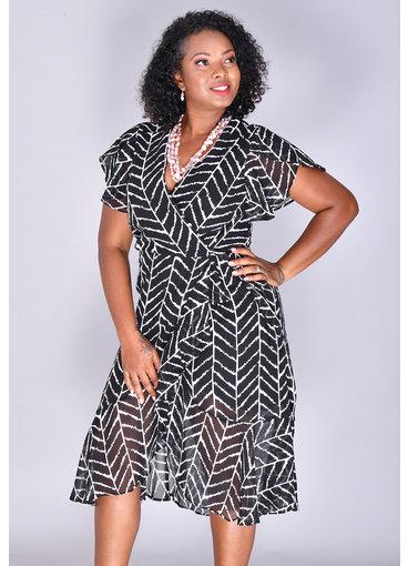 FANNI- Faux Wrap Printed Ruffle Dress