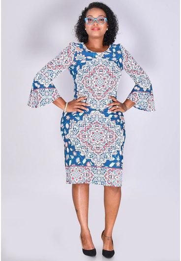 Shelby & Palmer IREN- Puff Print 3/4 Bell Sleeve Dress