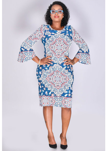 Shelby & Palmer IREN- Puff Print 3/4 Bell Sleeve Dress