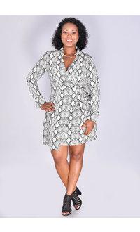 RENATE- Printed Long Sleeve Faux Wrap Dress