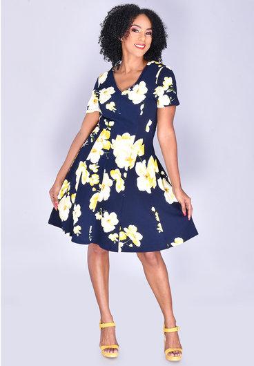 Signature BAO- Floral Print Fit&Flare Dress