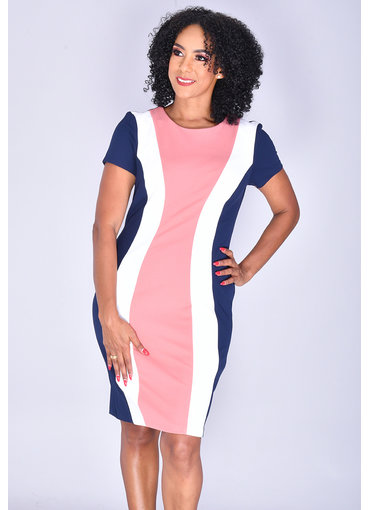 RANYA- Short Sleeve Color Block Dress
