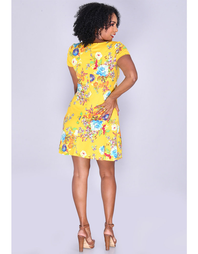 MSK IDIVA- Printed Fit & Flare Dress with Rings