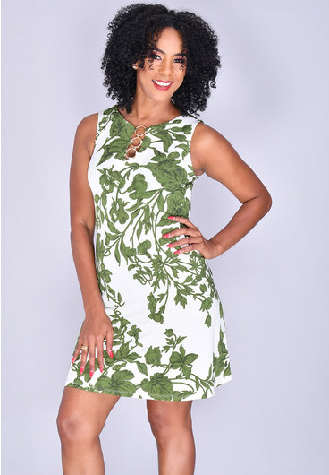 MSK IDANET-  Leaf Print Sleeveless Dress with Rings