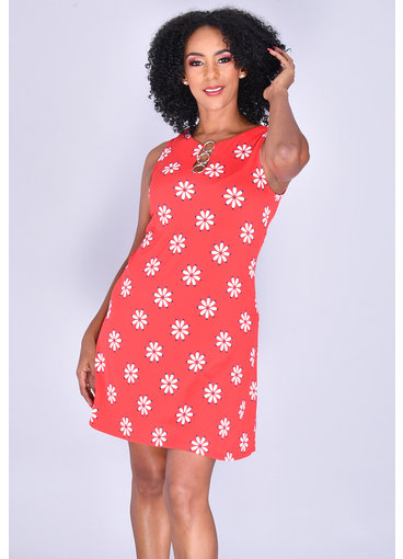 MSK IDANET-  Floral Print Sleeveless Dress with Rings