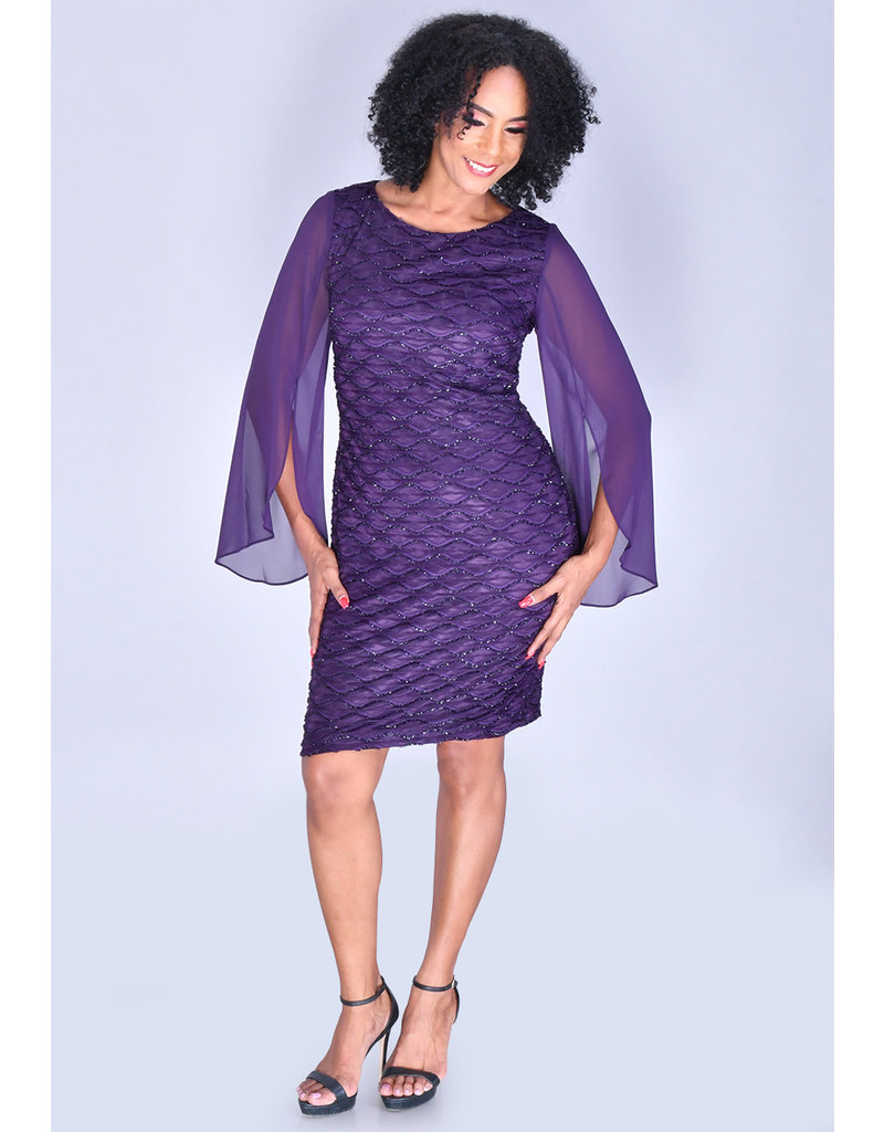 MAXINE- 3/4 Chiffon Bell Sleeve Glitter Dress