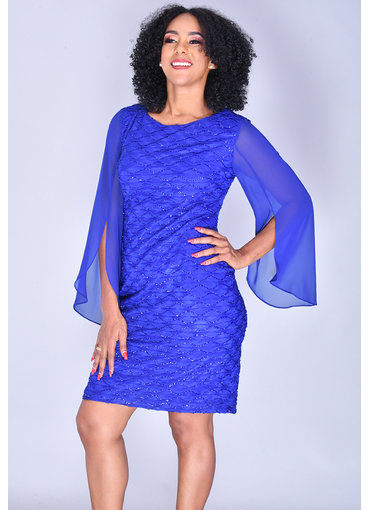 MAXINE- 3/4 Chiffon Bell Sleeve Glitter Dress