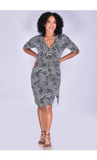 YANIQUE- Printed Faux-Wrap Dress
