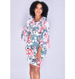 FABIANN- Floral Print Bell Sleeve Dress