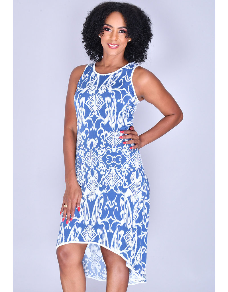 MSK YUTA- HI-LO Printed Sleeveless Dress