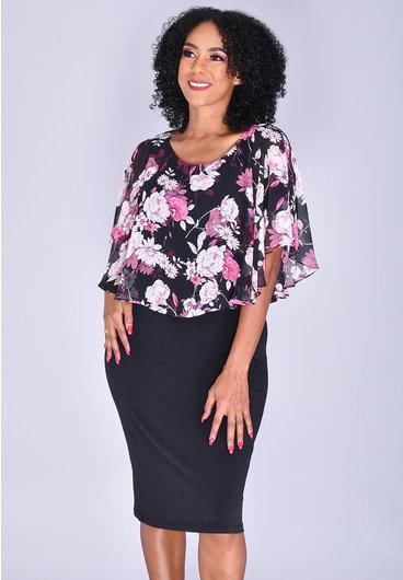 INDRE- Floral Print Chiffon Caplet Dress