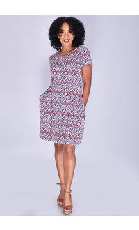 YENTA- Short Sleeve Print Dress