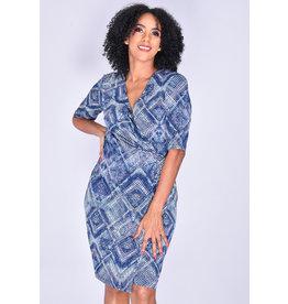 YANISHA- Printed Faux Wrap Dress