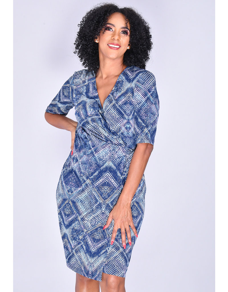 YANISHA- Printed Faux Wrap Dress