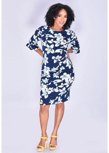 ILKAY- Floral Print Bell Sleeve Dress