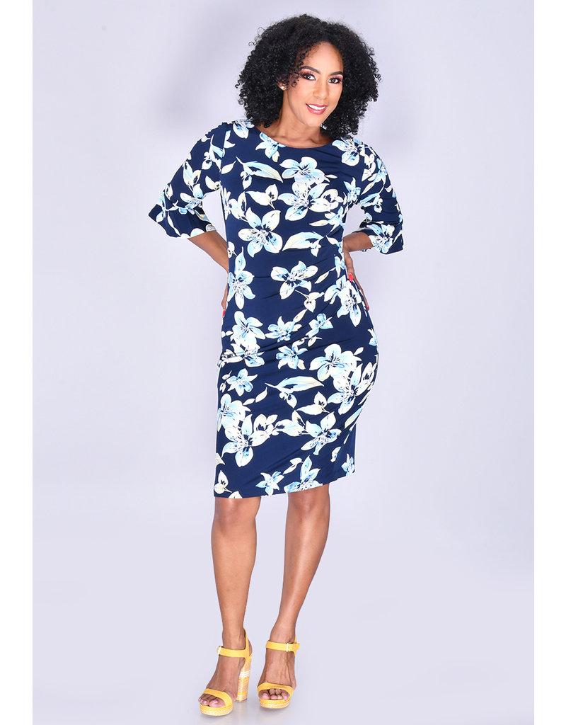ILKAY- Floral Print Bell Sleeve Dress