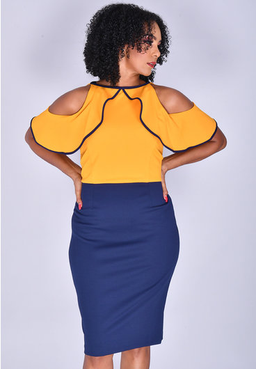 Allen Kay RAIN- Ruffle Colour Block Dress