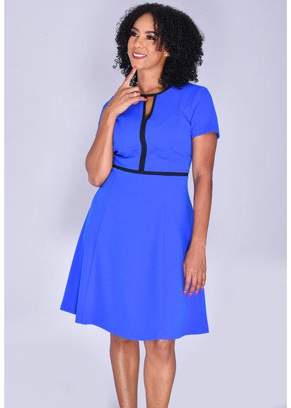 RIKKE-Contrast Trim Short Sleeve Dress