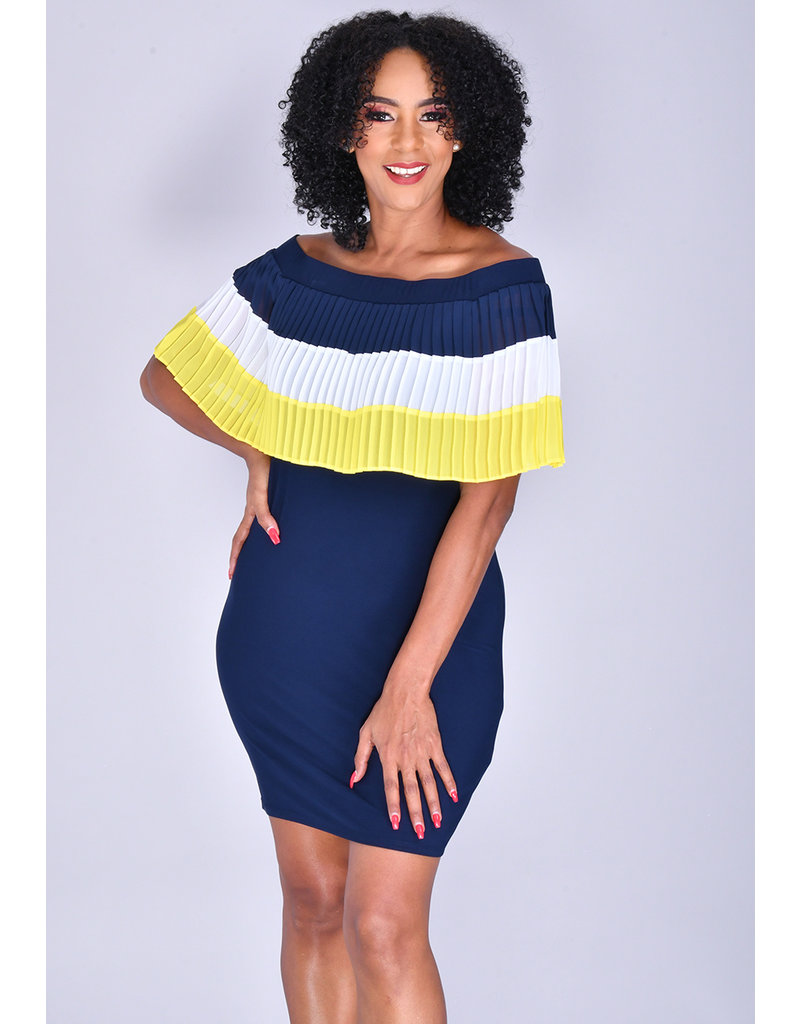 MSK ITALY- Pleated off the Shoulder Dress