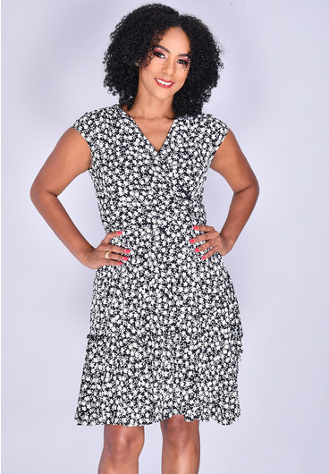 Signature INBAR- Printed Cap Sleeve Dress