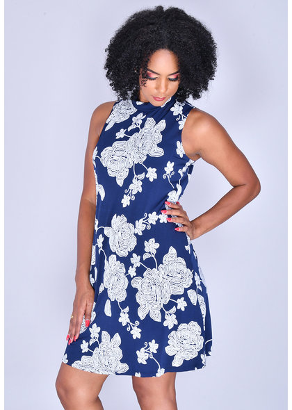 Signature ILDO- Puff Print Mock neck Dress