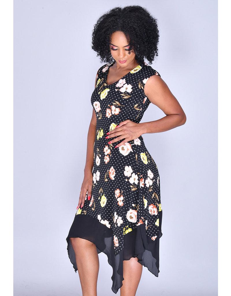 ITZEL- Printed Cap Sleeve Handkerchief Dress