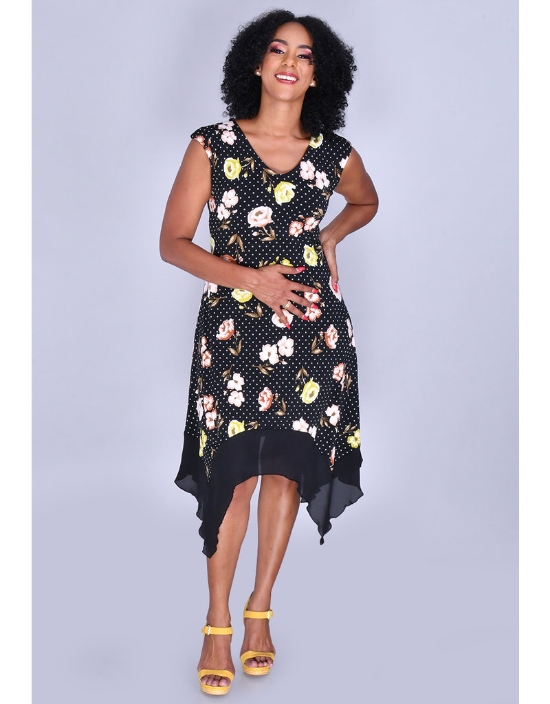 ITZEL- Printed Cap Sleeve Handkerchief Dress