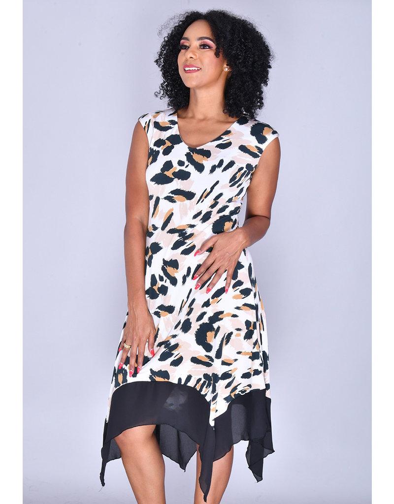 ITZEL- Animal Print  Cap Sleeve Handkerchief Dress