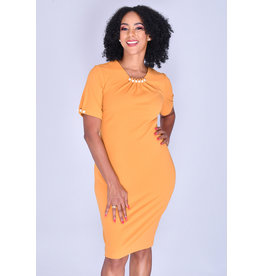 Allen Kay RABE- Short Sleeve Dress with Peal Accents