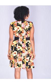 ROSHI- Floral Print Dress with Large Belt