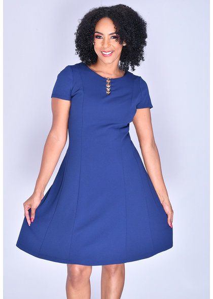 RICKIA- Short Sleeve Fit and Flare Dress