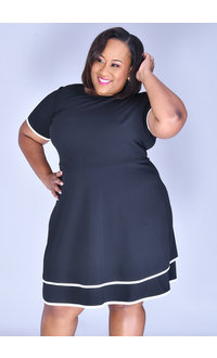 RAFI-Plus Size Short Sleeve Contrast Trim Dress