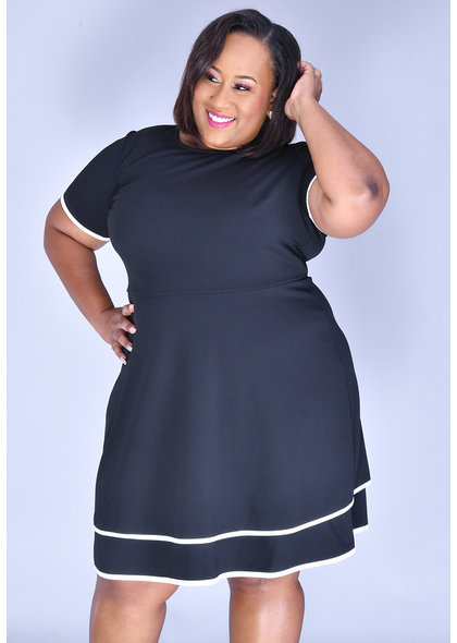 RAFI-Plus Size Short Sleeve Contrast Trim Dress