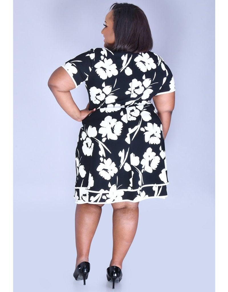 RACH- Floral Print Dress with Tiered hemline
