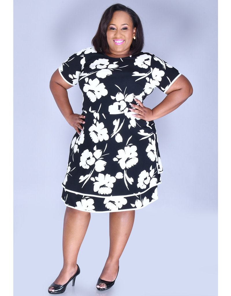 RACH- Floral Print Dress with Tiered hemline