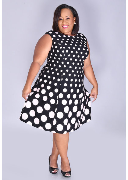 RAFE- Plus Size Polka Dot Fit & Flare Dress