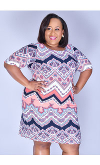 Sandra Darren IRAM- Puff Print Three Quarter Sleeve Dress
