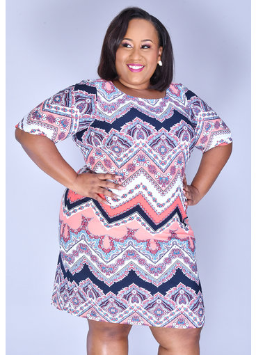 Sandra Darren IRAM- Puff Print Three Quarter Sleeve Dress
