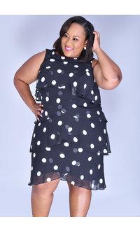 FRAYNE- Plus Size Polka Dot Flutter Dress