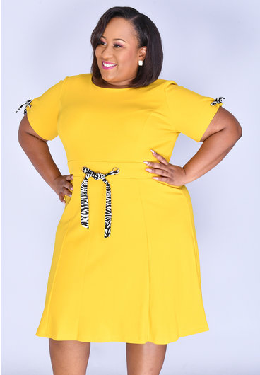 Shelby & Palmer RENIE- Plus Size Fit and Flare with Animal Print Contrast Trims
