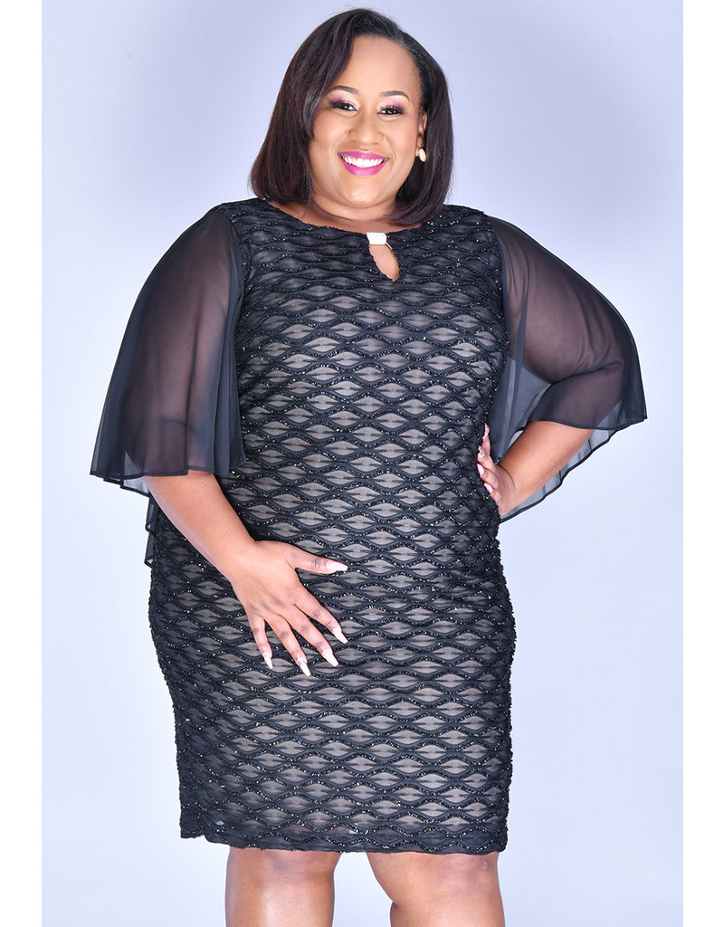 MAVIS-Plus Size Mesh Dress With Bell Sleeves