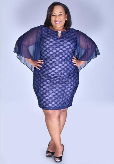 MAVIS-Plus Size Mesh Dress With Bell Sleeves