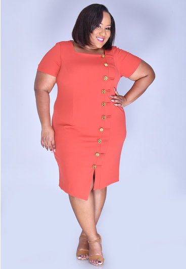 Shelby & Palmer RAGIA- Plus Size Square Neck Dress with Button at Side