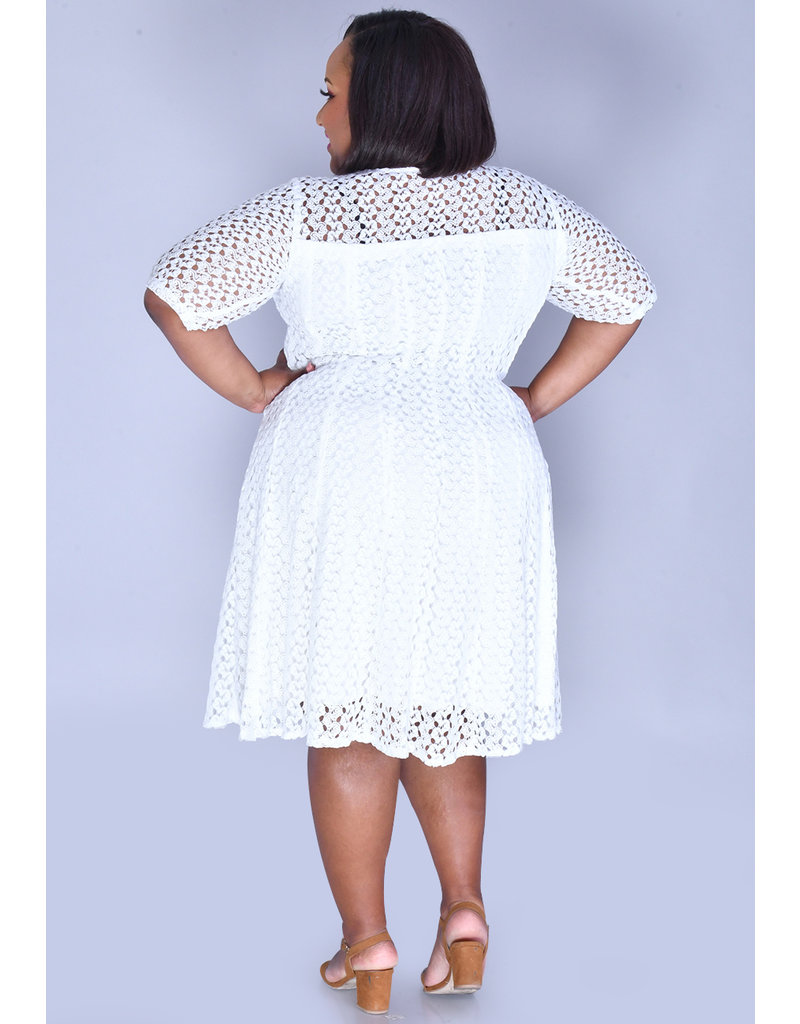 CASILDA- Plus Size Lace Overlay Fit and Flare Dress