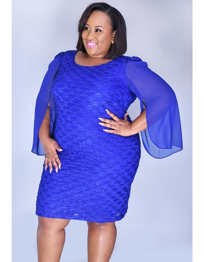 MAXINE- Plus Size 3/4 Chiffon Bell Sleeve Glitter Dress
