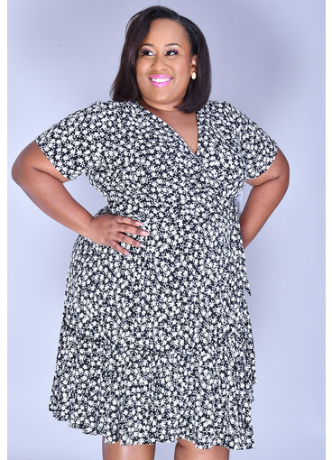 Signature INBAR- Plus Size Printed Cap Sleeve Dress