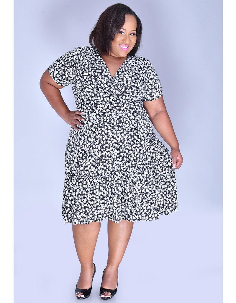 Signature INBAR- Plus Size Printed Cap Sleeve Dress
