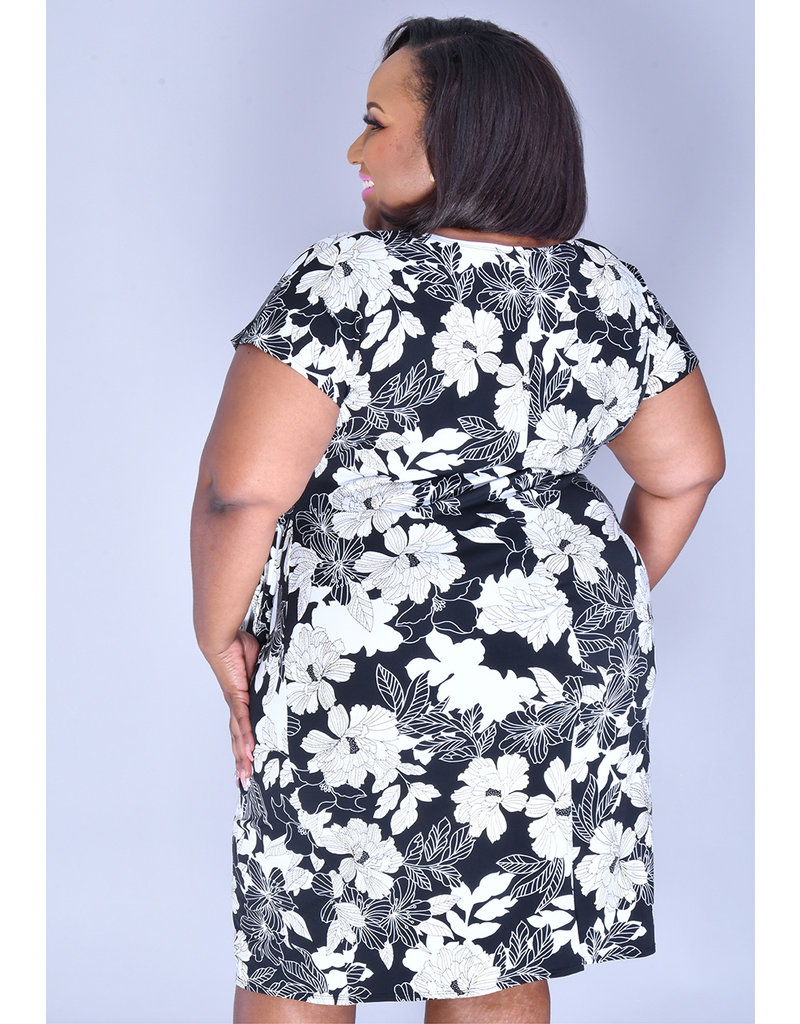 Signature INGER- Plus Size Printed Faux Wrap Dress